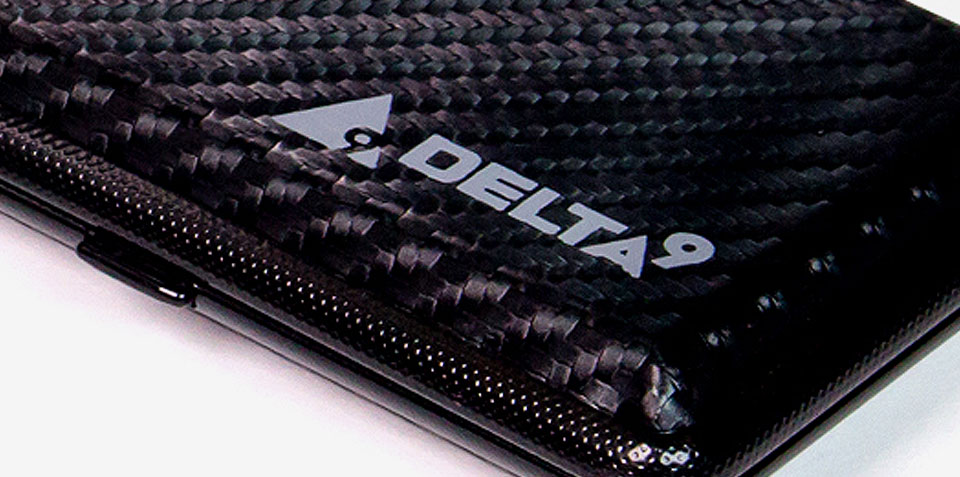 Delta9 logo on carbon