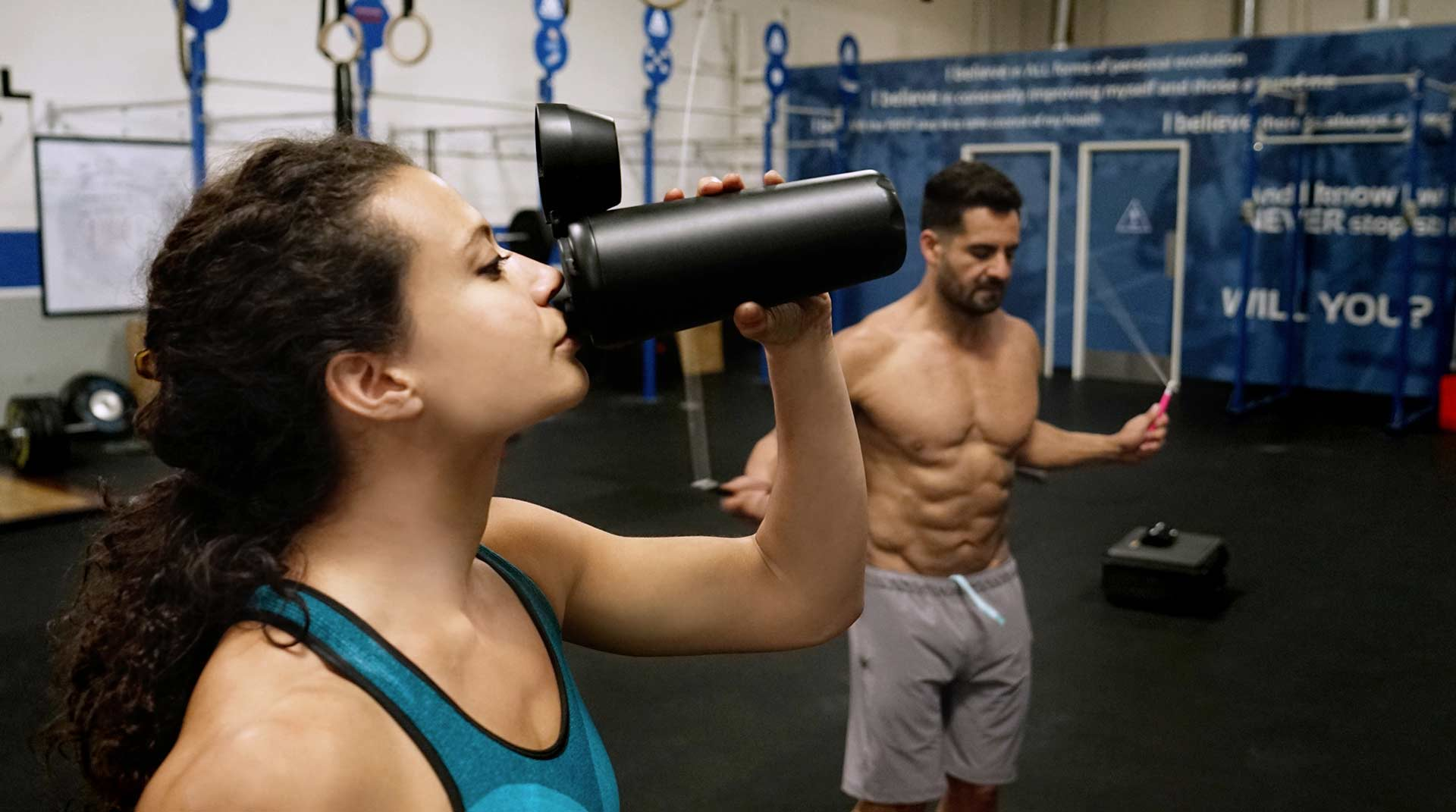 HIIT Bottle and fit couple